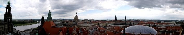 At a local museum in Dresden, we were able to climb to the top of a bell tower and get a 360 degree view of the city. Though this is not a full 360 view, there are multiple churches and museums included in the shot, including the Catholic church.