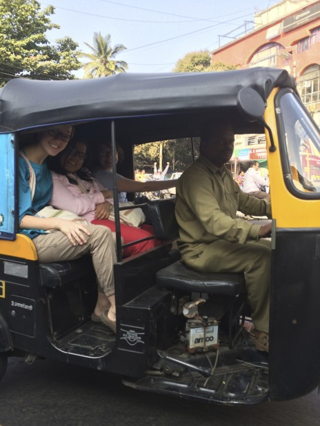 This photo is of a Rickshaw ride taken through the city. It is the main way of travelling all throughout India and it takes a lot of skill and practice to bargain with Rickshaw drivers who want you to pay more.